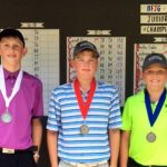 Boys 10-12 Division - Runner-up Daniel Mazur, Champion Andy Lonsdale and Third Place Winner Chase Carroll